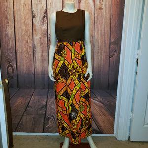 Vintage 70s Maxi Dress, Size Small/Medium